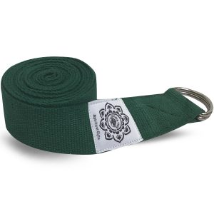 Cotton Yoga Belt Green with D-Ring - 270 cm