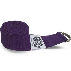 Cotton Yoga Belt purple with D-Ring - 270 cm