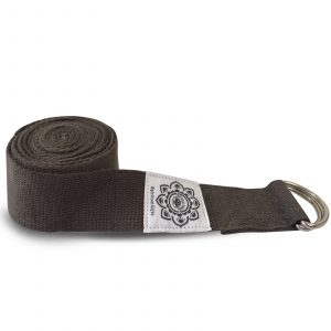 Cotton Yoga belt Grey with D-Ring - 270 cm