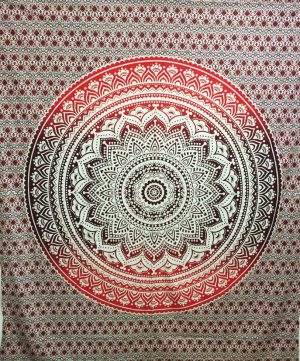 Cotton Rollcloth - Lotus - Mandala - Red-Brown