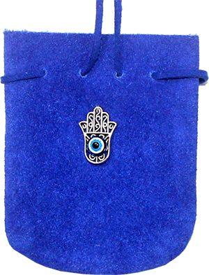 Suede Bag Turqoise Cobalt - Fatima Hand