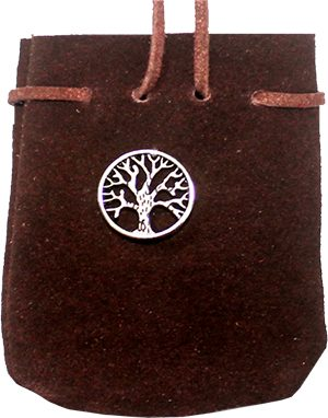 Suede Bag Turqoise Brown-Circled Tree