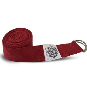 Cotton Yoga Belt Red with D-Ring - 270 cm