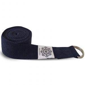 Cotton Yoga Belt Dark blue with D-Ring - 270 cm