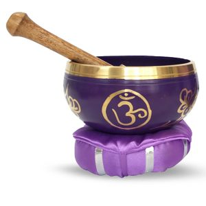 Singing bowl with beater and pillow -  Crown Chakra (12 cm)