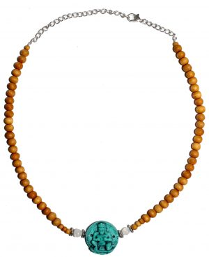 Sandalwood Adjustable Chain - Turquoise Hanuman
