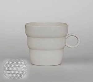 Mug Shinno with Flower of Life Silver grey