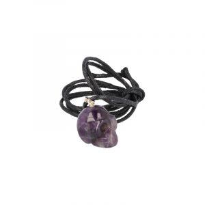 Gemstone Pendant Amethyst skull hanger on cord