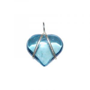 Gemstones Pendant Aqua Aura - Heart with Silver V