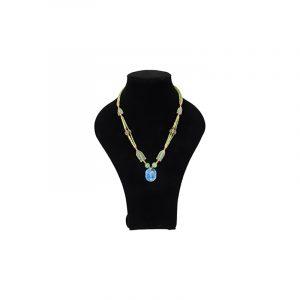 Bohemian necklace Jade with Lapis Lazuli Ovalhanger