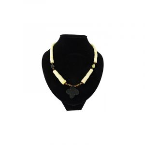 Bohemian Necklace Jade with Black Flower Pendant