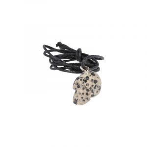 Skull Pendant Jasper Dalmatian to Cord
