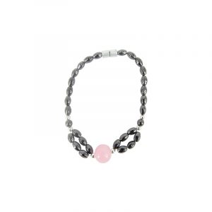 Magnetic bracelet Hematite - Agate Pink with magnetic clasp
