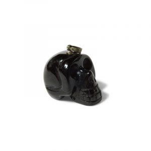Skull Pendant Obsidian Black on Cord
