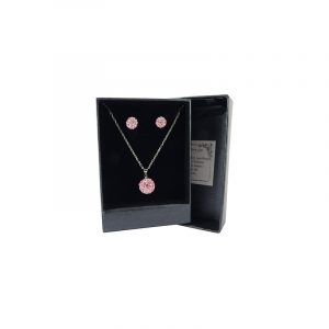Pendant and Earrings Set Shamballa Pink
