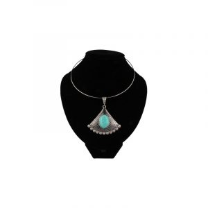 Metal Necklace with Turquoise Pendant