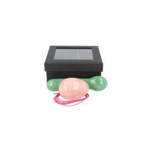 Yoni Massage Set Pink quartz - Aventurine Green