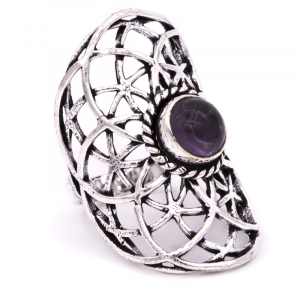 Ring Seed of Life with Amethyst Silver Colour (Ring size 19)