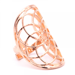 Ring Seed of Life brass Pink Gold color