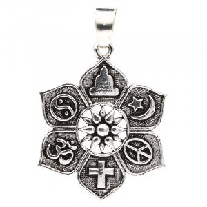 Pendant Lotus with Religious Symbols