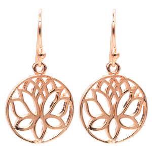 Earrings Lotus Brass Pink Gold color