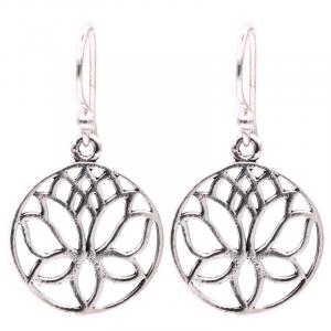 Earrings Lotus Brass Silver Color