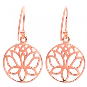 Earrings Lotus Brass Copper color