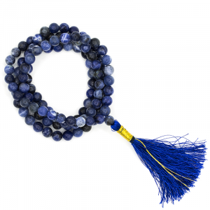 Mala Sodalite AA Quality 108 beads plus Brocade bag