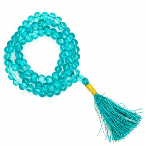 Mala Aqua Aura AA Quality 108 beads plus Brocade bag