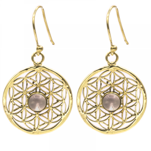 Earrings Flower of Life with Rock Crystal