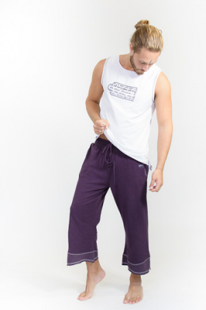 Yoga pants Organic Cotton and Hemp Man Purple (Size S-M)