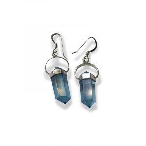 Aqua Aura Earrings with Silver Mounting