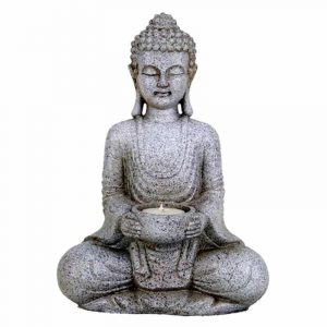 Meditation Buddha with Candle Holder Stone grey - 27 cm