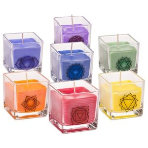 Set of 7 Chakra Rapeseed Wax Eco Scented Candles