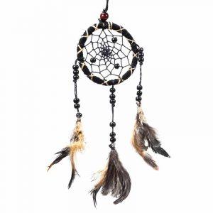 Dreamcatcher Black with Feathers (7,5 x 25 cm)