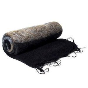 Meditation Shawl Black with Stripes