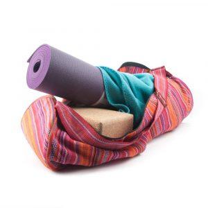 Yoga Mat Bag Cotton Pink Striped