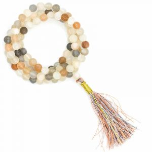 Mala Moonstone AA Quality 108 beads plus Brocade bag