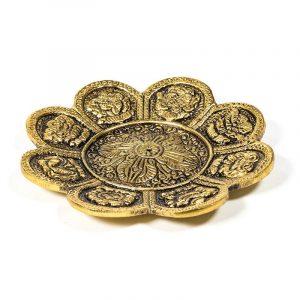 Incense Burner 8 Symbols of Prosperity Gold-coloured
