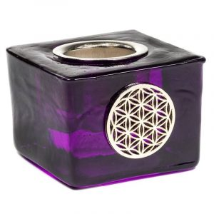 Candle Holder Cube with Flower of Life Purple