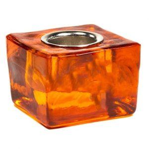 Candle Holder Cube - Orange for 22 mm Candle Sticks