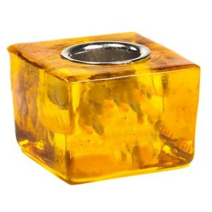 Candle Holder Cube - Yellow for 22 mm Candle Stick