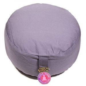 Yogi and Yogini Meditation Cushion Round Cotton Grey - 33 x 17 cm