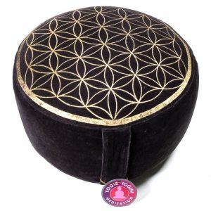 Yogi and Yogini Meditation Cushion Round Cotton Anthracite - Vintage Look Flower of Life - 33 x 17 cm