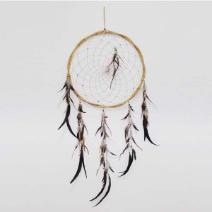 Dreamcatcher Rattan Natural White with Feathers
