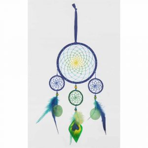 Dreamcatcher Blue with Peacock Feathers (52 cm)