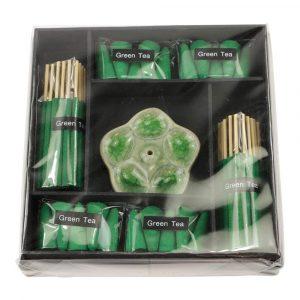 Green Tea Incense Set with Flower Incense Burner (Green)