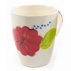 Coffee/Tea Mug Ceramic Flower Red