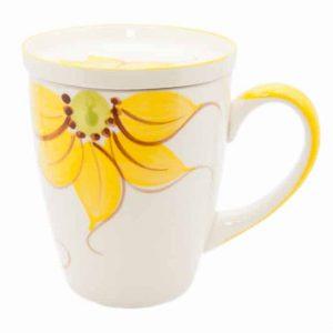 Ceramic Tea Mug Sunflower Yellow with Tea Bowl
