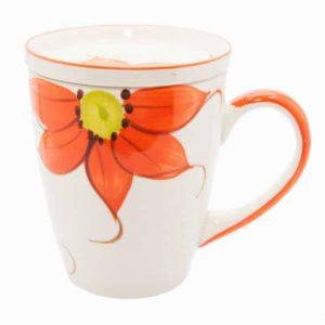 Ceramic Tea Mug Sunflower Orange with Tea Bowl